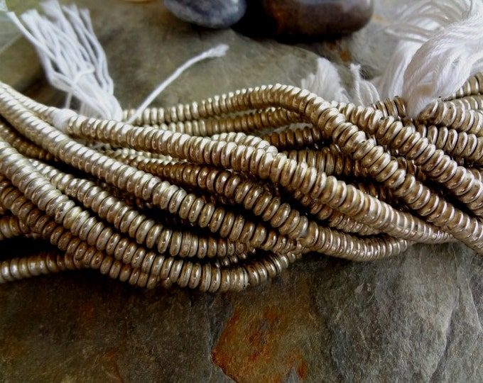 Rondelle, 6x2mm, Solid Brass, Silver Plated, African Trade, African Brass,  25 Inch, 350 to 360 beads, Priced per Strand