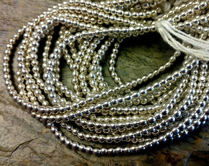 Rounds, 3mm, African Brass, Trade Beads, Silver Plated, Solid Brass, 25 Inch, Priced per Strand