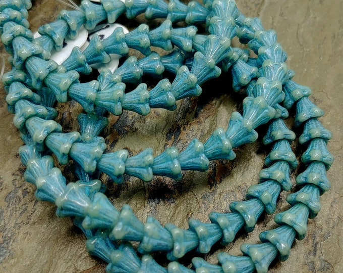 Featured listing image: Slate Blue, Turquoise Wash, Opaque, Flower Cups, 5x6mm, Czech Glass, 30 beads per strand, Priced per Strand