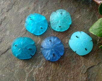 Sand Dollars, Small, Sea Glass, 20mm, Teal, Sapphire, Pacific Blue, Turquoise Bay, Opal Blue, Cobalt, Priced per Piece