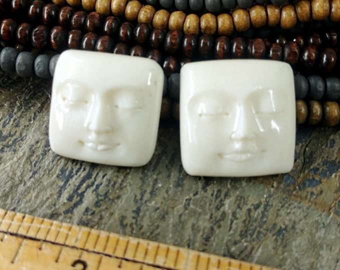 Moon Face, Cabochon, Rounded Square, 20mm, Closed Eyes, Hand Carved, Bone, Indonesia, Priced per Piece