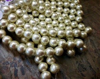 Pearls, Cotton Pearls, 10mm, Mint Green, Round, 4 inches, 10 beads, Priced per Strand