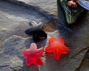 Starfish, Small Starfish, Sea Glass, Small, 20x7mm, Cherry Red, Tangerine, Black, Priced per Piece