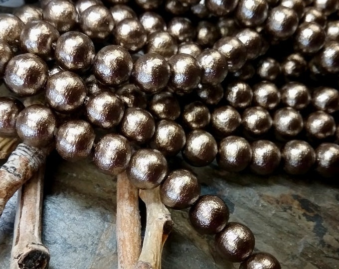 Pearls, Cotton Pearls, 8mm, Round, Bronze, J689, 4.5 inches, 15 beads, Priced per Strand