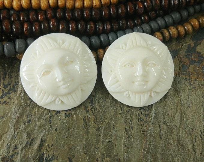 Cabochon, Sun, Open Eye, 25mm, White, Bone, Water Buffalo, Priced per piece