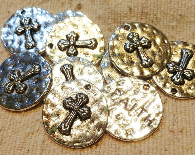 Cross, Faith, Medallion, Charm, Pendant, Two Sided, 24mm, Silver Plated, Hammered, Pewter, Lead Free, Priced per Piece