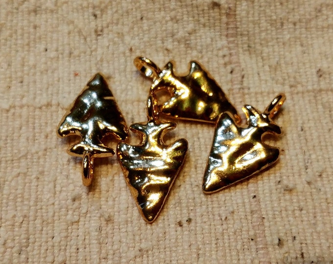 Arrowhead, Charm, Pendant, 27x15mm, Hammered, Gold Plated, Pewter, Lead Free, Priced per Piece