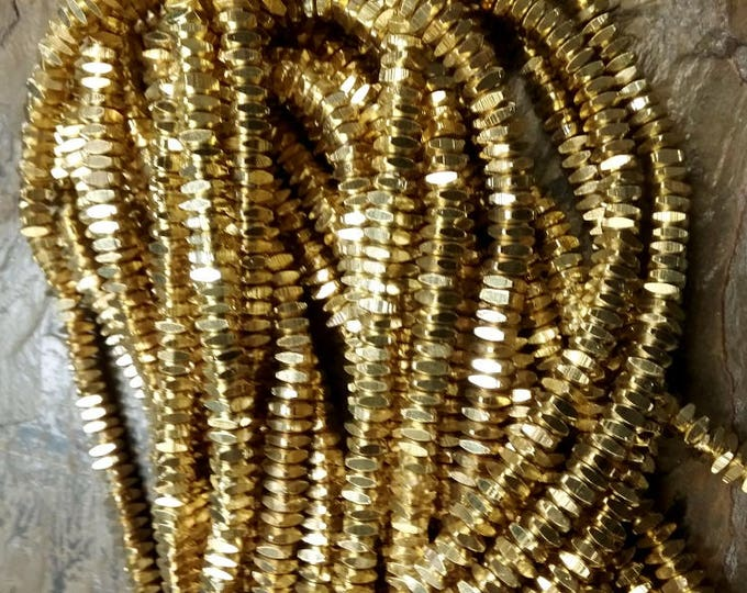 Heishi, Squaredelle, Shiny Gold, 5x2mm, Gold Plated, African Trade, African Brass, Solid Brass, 25 Inch Strand