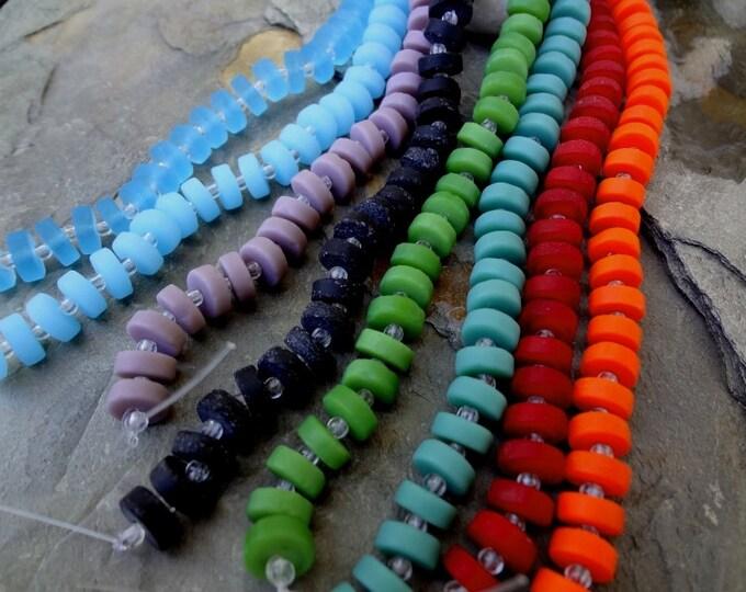 Button Heishi, Flat Heishi, Sea Glass, 9x3mm, 8 Inch Strands, 36 Beads per Strand, Priced per Strand