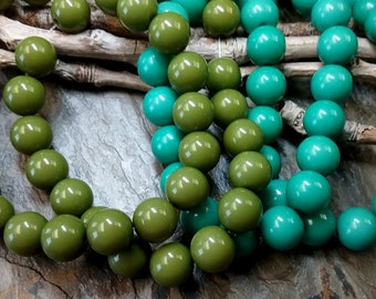 10mm, Smooth Rounds, 20 pieces, Olive, Turquoise, Vintage, Resin, Lucite, Priced per Strand