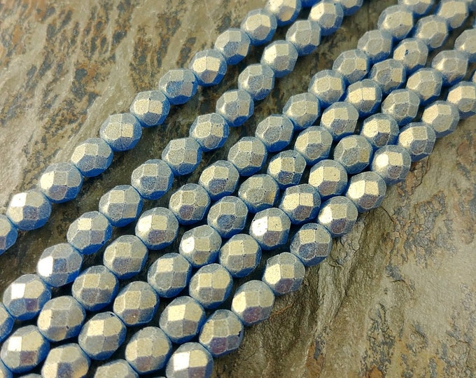 Capri Blue, Sueded Gold, Transparent, 6mm, Firepolish, Czech Glass, Faceted Round, 25 Beads per Strand, Priced per Strand