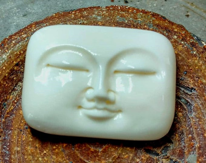 Moon Face, Cabochon, Rounded Rectangular, 32x25mm, Hand Carved, Bone, Indonesia, Priced per Piece