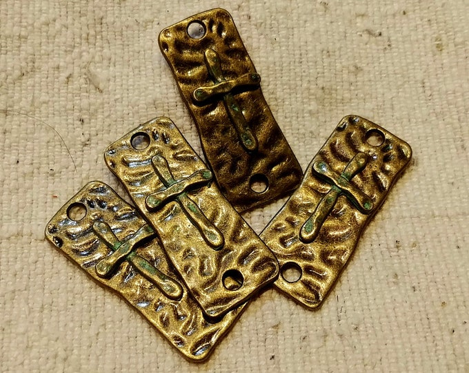 Cross, Connector, Two Hole, Hammered, Antique Bronze, Plated, Bar, 37x15mm, Priced per Piece