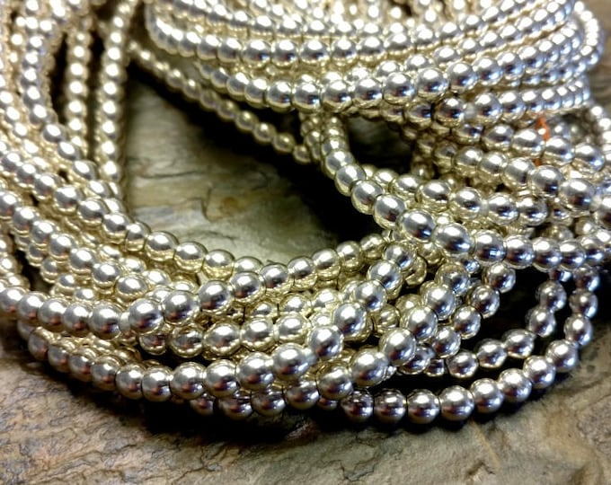 Rounds, Brass Bead, 4mm, African Brass, African Trade Beads, Silver Plated, 25 Inch, Priced per Strand