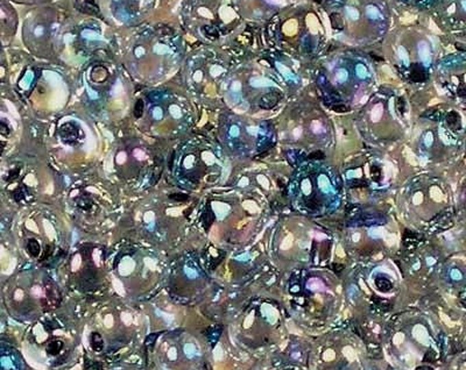 Silver Lined, Clear AB, 3.4mm, Miyuki, Drop, Magatama, Teardrop, 5 grams per tube, Priced per Tube