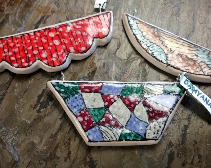 Ceramic Pendants, Damyanah Studios, Golem Studios, Focal Piece, 30x85mm, Priced per Piece