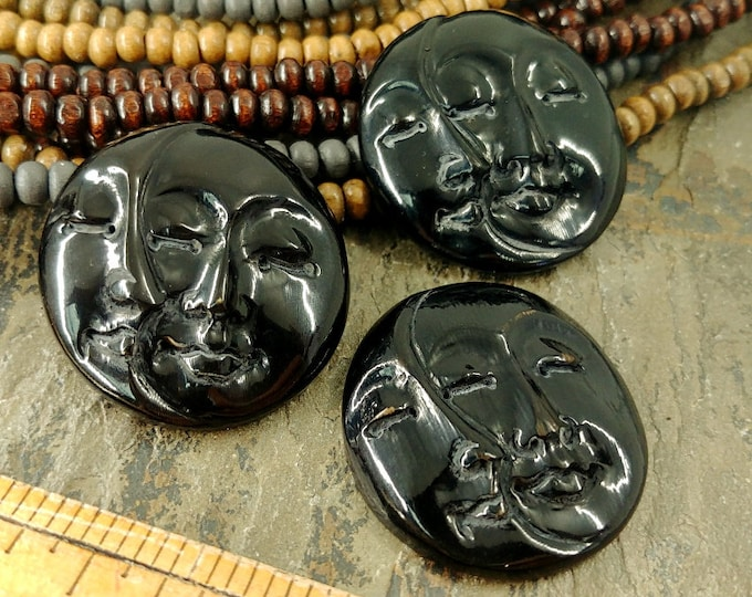 Cabochon, Moon Face, Moon Phase, 30mm, Closed Eyes, Black, Bone, Water Buffalo, Priced per piece