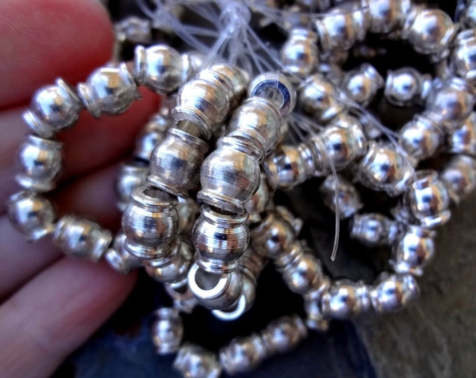 Rounds, 8x7mm, Silver Plated, Solid Brass, African Brass, African Rounds, 25 Inch Strand, 80 beads, Priced per Strand