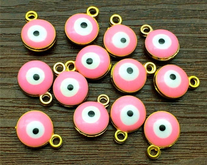 Evil Eye, Hot Pink, Charm, 10mm, Enameled, Gold Plated, Pewter, Lead Free, Priced per Piece