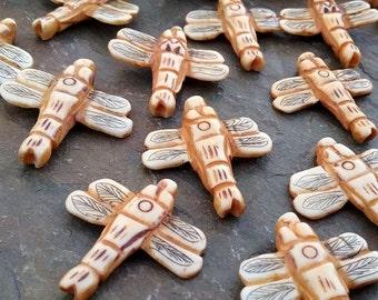 Dragonfly, Pendant, 26mm, Carved Bone, Natural Antiqued, Carved Bone, Vintage, Priced per Piece