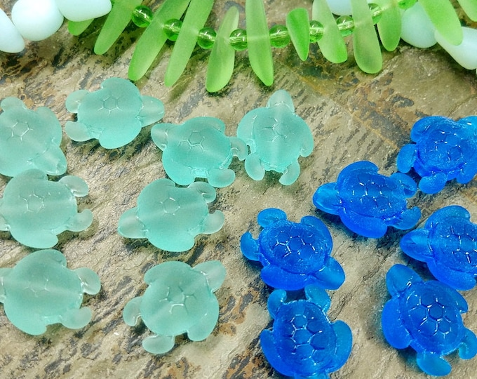 Sea Turtules, Sea Glass, 20x15mm, LARGE HOLE, 1.5mm, Pacific Blue, Autumn Green, Contemporary, Made in China, Priced per Piece