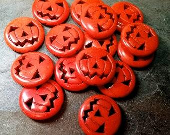 Pumpkin, Hand Carved, 25mm, Jack-O-Latern, Dyed, Orange, Magnesite, Priced per Piece
