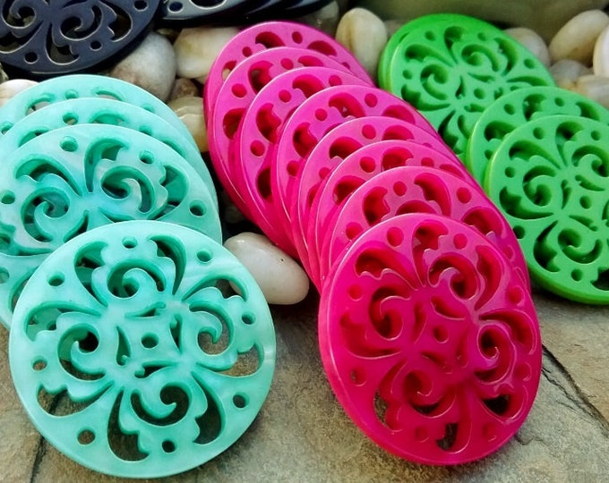 Medallion, Art Nouveau, Filigree, Laser Cut, Resin, 32mm, Fuchsia, Green, Aqua, Black, Beige, Priced per Piece