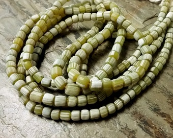Tube, Indonesian Glass, Lampwork, Graduated, 4 to 7mm, Large Hole, MATTE, Dark Olive, White Stripe, 24 Inch, 130 beads, Priced per strand