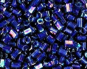 """Matsuno, Seed Beads, 8/0 Hex, 356C, Navy Blue Lined AB, Japanese, 3"""" Tube per bag, Priced per Package"""