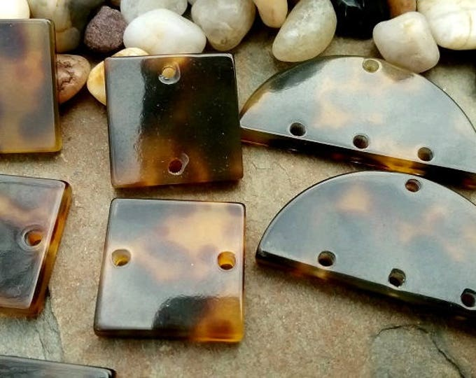 Square, Tile, Half Moon, Laser Cut, Resin, German Made, Tortoise Shell, Priced Per Piece