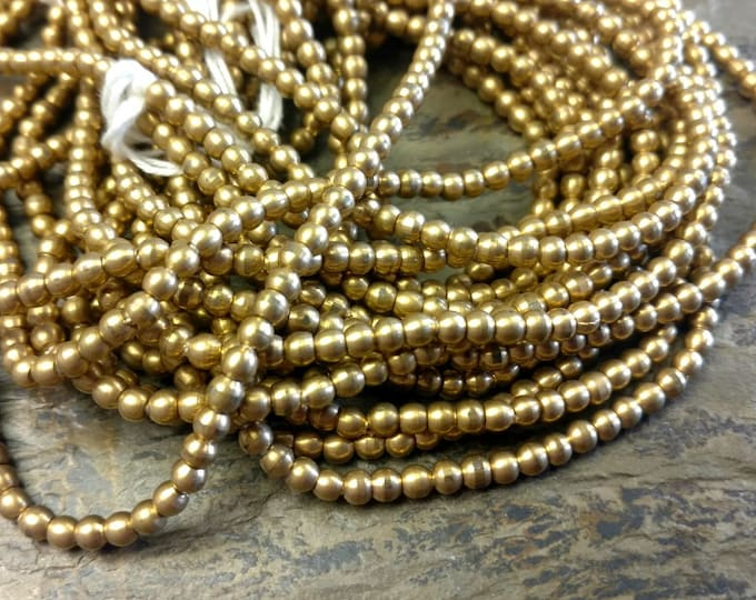 Rounds, 2mm, Shiny Gold, Brass, Round Brass Bead, African Brass, Trade Beads, 25 Inch, Priced per Strand