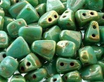 Turquoise Green Picasso, Nib-Bit, Matubo, Two Hole, 6x5mm, Czech Glass, 10 grams per bag, Priced per bag