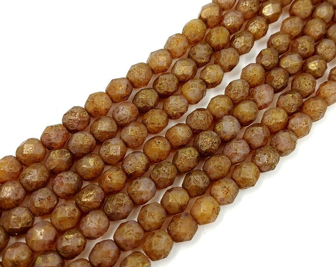 Opal Rose, Etched, Copper, Picasso, 6mm, Firepolish, Czech Glass, Faceted Round, 25 Beads per Strand, Priced per Strand