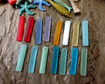 Puffed Rectangle, LONG, 38x8mm, Sea Glass, Contemporary, Mixed Colors, Priced per Piece