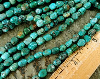 Turquoise Nuggets, Tibetan, Tumbled Nuggets, 7 to 8mm, Green Blue Turquoise, Mixed Grade, Half Strands, Priced per Strand