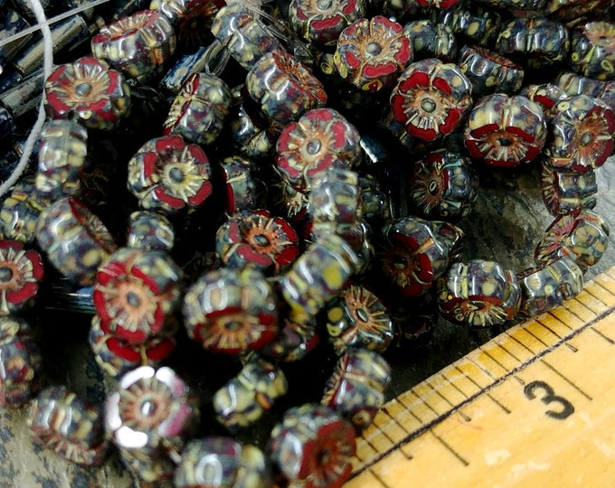 Hibiscus, 7mm, Table Cut, Czech Glass, Opal Deep Red, Picasso, 12 Pieces per Strand, Priced per Strand