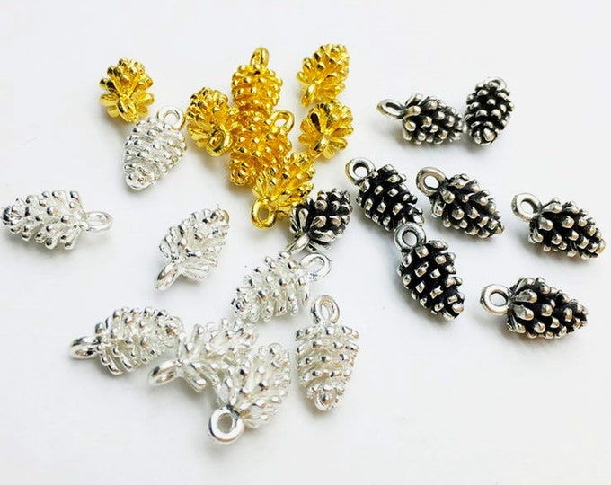 Pinecone, Charm, 15x8mm, Gold Plated, Silver Plated, Antique Silver, Pewter, Lead Free, Priced per Piece
