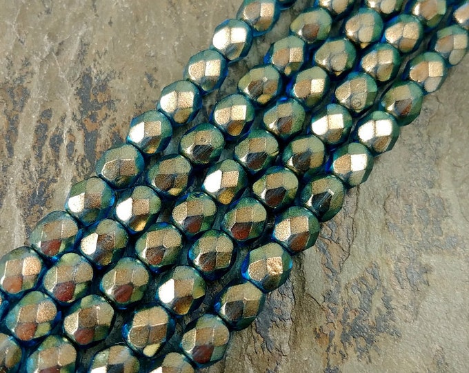 Halo Shadows, Transparent, 6mm, Firepolish, Czech Glass, Faceted Round, 25 Beads per Strand, Priced per Strand