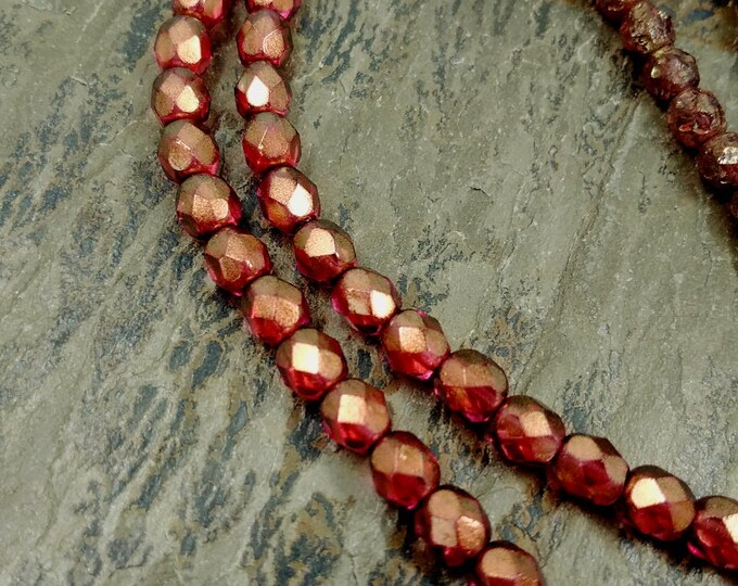 Halo Cherub, Transparent, 6mm, Firepolish, Czech Glass, Faceted Round, 25 Beads per Strand, Priced per Strand