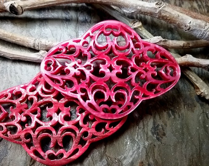 Quatrefoil, Laser Cut, Filigree, Resin Component, 60x44mm, German Made, Fuchsia, Priced per Piece