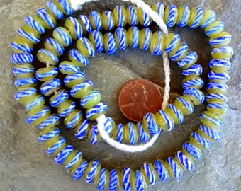 Indonesian Glass, Donuts, 9x5mm, Large Hole, 4.5 inch strand, Opal, Olive, Cobalt Stripe, 22 beads, Priced per strand