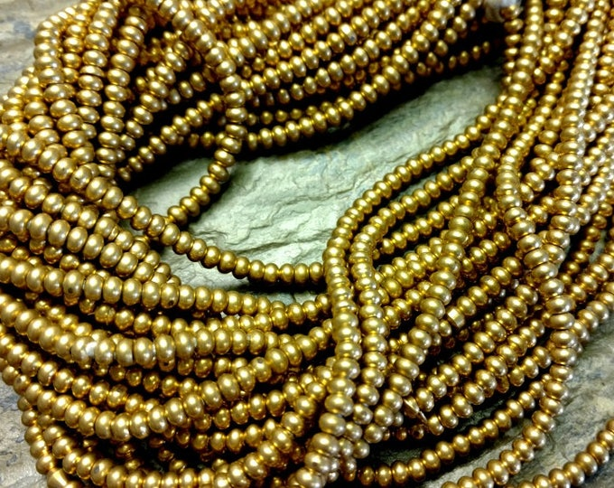 Rondelle, 4x2.5mm, Natural Brass, African Brass, African Trade, 25 Inch Strands, Priced per Strand