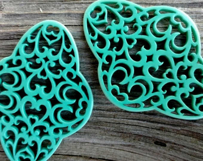 Filigree, Quatrefoil, Laser Cut Resin Component, German Made, 60x44mm, Turquoise Blue, Priced Per Piece