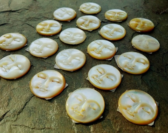 Moon Face, Cabochon, 15mm, Mother of Pearl, Hand Carved, Indonesia, Priced per Piece