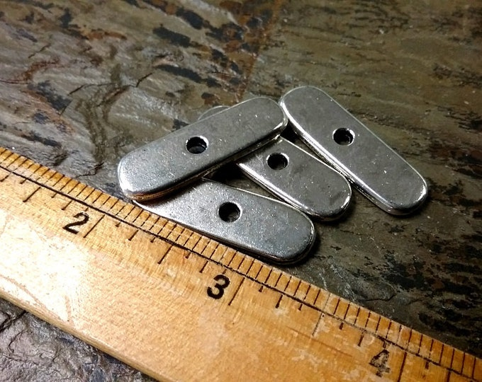 Spacer Bar, 33x10mm, 3mm hole, Pewter, Shiny Silver, 4 pieces per bag, Priced per Bag