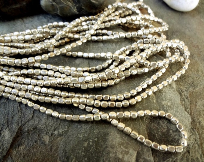 Rounded Cube, 3x3mm, Silver Plated, African Brass Trade Beads, 25 Inch Strand, Priced per Strand
