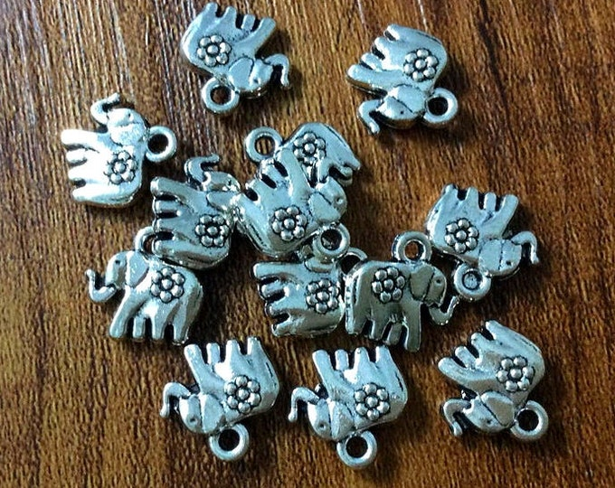 Elephant, Charm, 13mm, Antique Silver, Pewter, Lead Free, Priced per Piece
