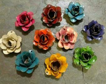 "Steel Flowers, Pendants, Enameled, Rusted Steel, Rusty Cowgirls, 1.25"", Priced per Piece"