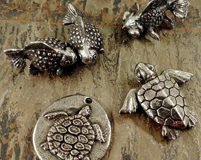 Featured listing image: Blowfish, 20mm, Sea Turtle, 24x22mm, Goldfish, 17x27mm, Sea Turtle, Sink or Swim, 23mm, GREEN GIRL STUDIOS, Pewter, Priced per Piece