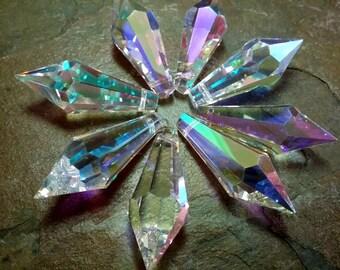 Crystal Prism, Leaded Crystal Chandelier Teardrop, Czech, 45mmmm, Crystal AB, Priced per Piece